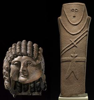 곱슬머리가 그리스·로마 양식과 비슷한 청동 조각 '남자의 얼굴'(왼쪽). 돌칼을 어깨에 둘러멘 모습의 '사람 모양 석상'은 기원전 4000년경 만든 것으로 추정된다.
