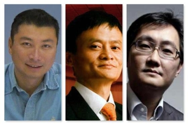 올해 중국 다크호스 부호로 부상한 왕웨이 순펑 회장(맨왼쪽 부터)과 2위와 4위를 기록한 알리바바의 마윈과 텐센트의 마화텅/바이두