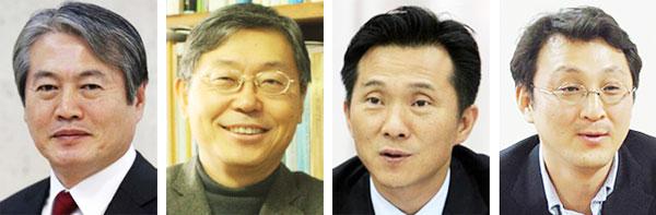 (왼쪽부터)김용익 원장, 조흥식 교수, 김연명 교수, 이진석 교수.