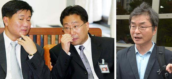 노무현 정부 때인 2004년 9월 국회에 출석했던 당시 전해철(왼쪽) 청와대 민정수석과 양정철 홍보기획비서관(왼쪽 사진). 오른쪽 사진은 2015년 7월 이호철 전 청와대 민정수석의 모습이다.