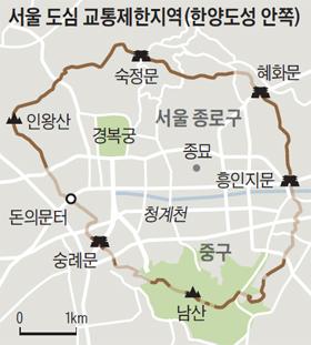 서울 도심 교통제한지역 지도