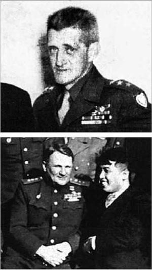 일본 패전 후 남·북한에 군정 사령관으로 진주한 하지(위) 미군 중장과 치스챠코프(아래 왼쪽) 소련군 대장.