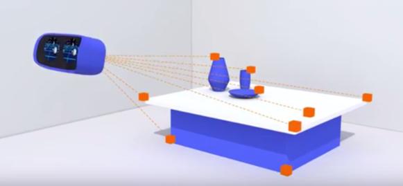 VR헤드셋을 통해 공간을 인식하는 월드센스 개념도. /구글 제공