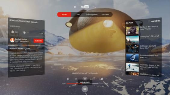유튜브 VR 플랫폼 사용 화면.  /구글 제공