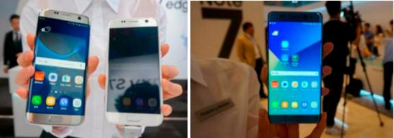 삼성전자 갤럭시S7 시리즈(왼쪽)와 갤럭시노트7 / 전준범 기자