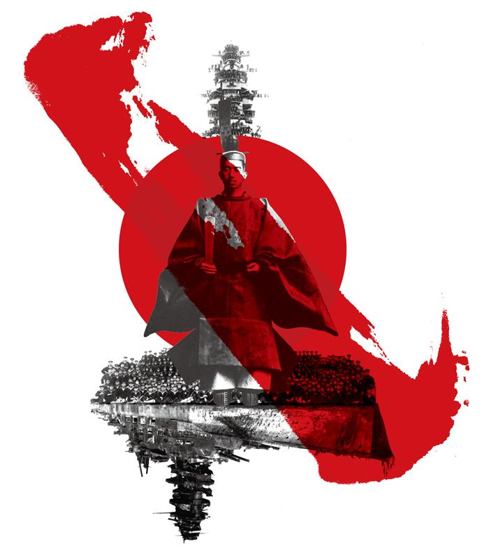 히로히토를 신(神)이라 믿었던 말단 병사의 각성. 1944년 전함 무사시가 침몰할 때 가까스로 살아남은 패잔병은 이제 일왕에게 전쟁 책임의 직격탄을 날린다.