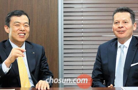 마이클 톰슨 핌코 아시아 부문 대표(오른쪽)와 조재민 KB자산운용 대표