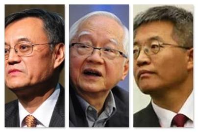 마윈의 계획경제 우월론에 비판의 날을 세운 중국의 간판 경제학자들. 첸잉이(왼쪽부터) ,우징롄, 장웨이잉 /바이두