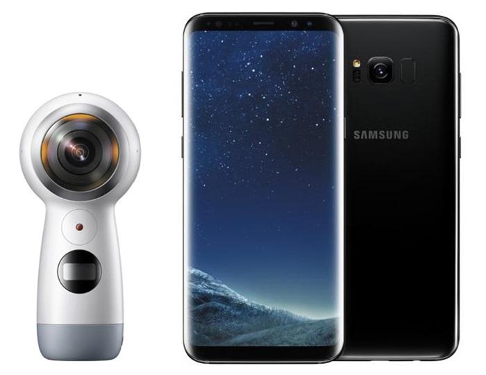 삼성 '갤럭시 S8'(오른쪽)과 '2017년형 기어 360'(왼쪽).