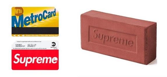 슈프림 로고만 들어가면 완판! 슈프림 지하철 카드와 벽돌