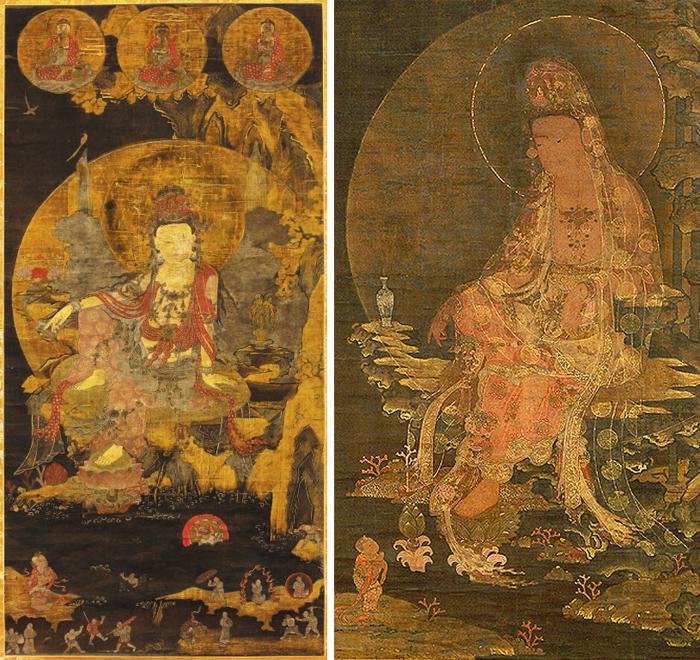 """일본에서 발견된 14세기 중반의 고려 '수월관음도'(왼쪽 사진). 관음보살의 자세도 독특하지만 불화 하단에 호환(虎患), 수해, 도적 떼를 만나 관음보살을 찾는 이들을 세밀하게 묘사했다. 복식사 연구에 도움이 될 정도. 정우택 관장은 """"고려 말 사회 혼란 속에서 관음 신앙이 힘을 얻었음을 보여준다""""고 말했다."""