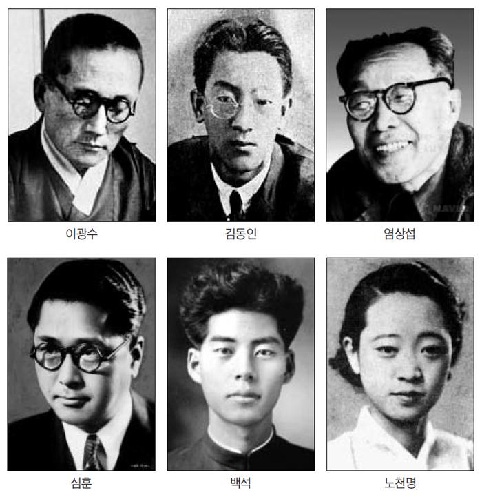 이광수, 김동인, 염상섭, 심훈, 백석, 노천명 사진
