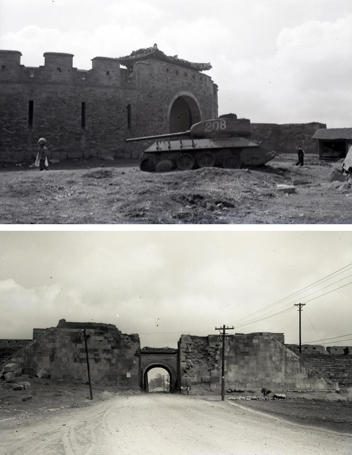 6·25 전쟁 중이던 1952년 파괴된 수원 화성 장안문의 모습과 소련제 T-34 전차(사진 위). 아래는 성 안쪽에서 본 장안문의 당시 모습.