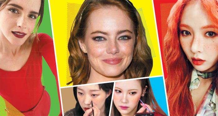 왼쪽부터 시계 방향으로 배우 에마 왓슨, 에마 스톤, 가수 현아, 유튜버 레나, 소윤. 주근깨를 자연스럽게 드러내거나 일부러 얼굴에 주근깨를 그려 넣은 모습이다.