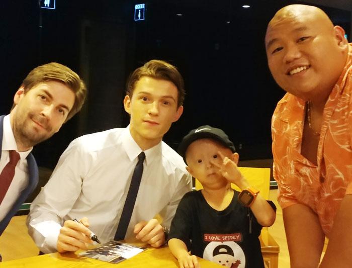 영화'스파이더맨: 홈커밍'의 감독 존 와츠와 배우 톰 홀랜드, 홍원기군, 배우 제이컵 배덜런(왼쪽부터).