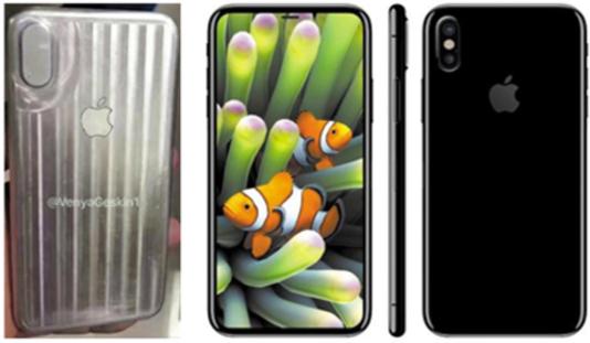 산업 디자이너 베자민 게스킨이 공개한 아이폰8 샘플 모형(왼쪽 첫번째)과 이를 토대로 자신이 그래픽 작업을 한 추정 이미지. 전면 테두리가 얇아져 화면이 극대화(가운데)됐고, 후면의 듀얼 카메라는 수직으로 배치됐다. /트위터