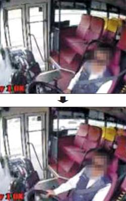 앞차와 부딪치자 운전대 거머쥐어 - 지난 9일 경부고속도로 신양재나들목에서 발생한 졸음운전 사고 직전, 버스 운전기사 김모(51)씨가 선글라스를 끼고 오른쪽 손을 핸들에서 내려놓은 듯한 모습으로 앉아 있다(위 사진). 김씨는 앞서 가던 K5 차량과 충돌한 직후엔 다시 핸들을 쥐었다.