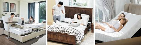 왼쪽부터 일룸, 까사미아, 체리쉬가구의 전동 침대들.