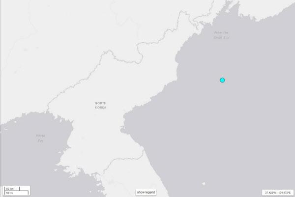 """美지질조사국 """"북한 동해상에서 규모 5.8 지진 관측"""", 日기상청은 6.3으로 발표"""