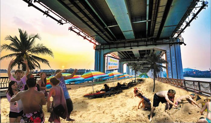 오는 28일부터 사흘간 모래사장으로 변신하는 잠수교의 가상 모습.