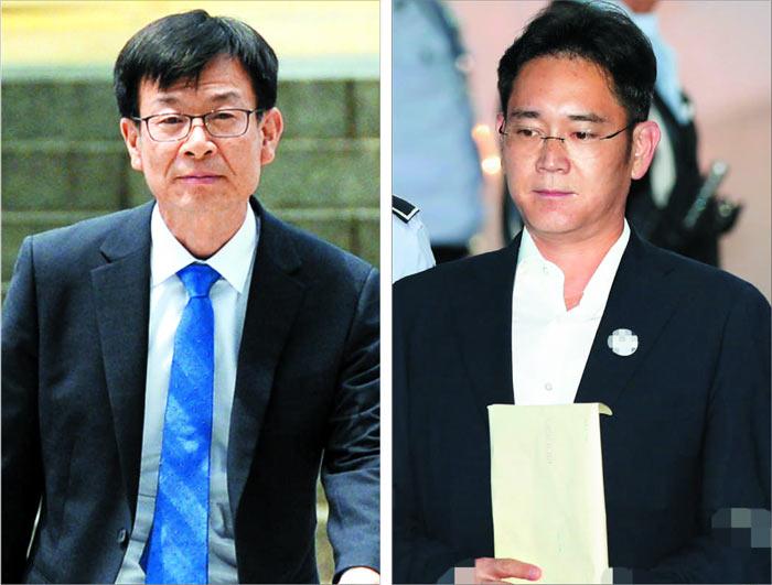 김상조(왼쪽) 공정거래위원장이 14일 서울 중앙지법에서 열린 삼성 관련 재판에 증인으로 출석하기 위해 걸어가고 있다. 이날 이재용(오른쪽) 삼성전자 부회장은 재판에 출석했다.