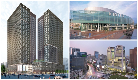 스콧 사버 SMDP CEO는 한국의 유명 랜드마크 빌딩을 여럿 건축한 '한국통'이다. (왼쪽부터 시계방향으로) 그가 설계한 종로구 공평지구 센트로폴리스(조감도)와 고양시 킨텍스, 명동 포스트타워. /SMDP 제공