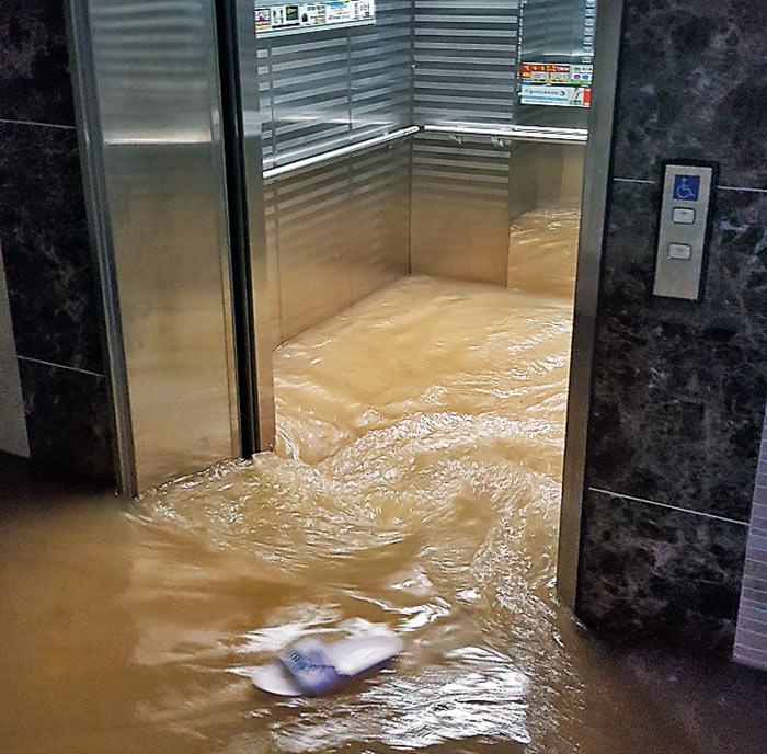기록적인 집중호우가 내린 16일 충북 청주시 복대동의 한 아파트 1층 승강기에 물이 들어차는 모습.