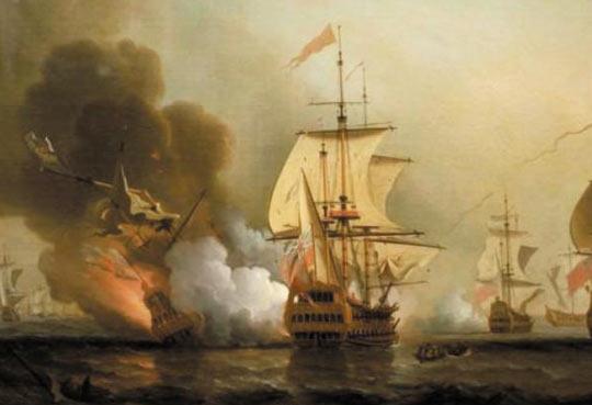 스페인 보물선'산호세호'가 1708년 영국 전함과 교전하는 장면을 그린 그림.