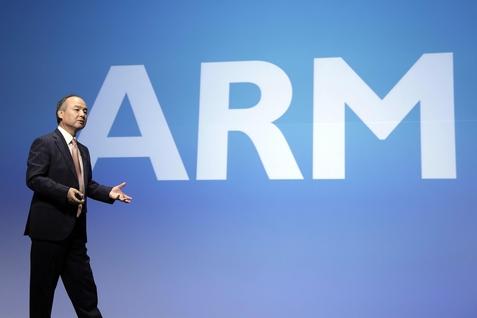 손정의 소프트뱅크 사장이 ARM 투자 건에 대해 설명하고 있다. / 블룸버그 제공