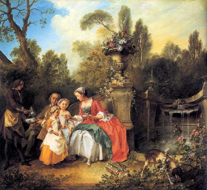 니콜라 랑크레,' 아이들과 함께 커피를 마시는 부부', 1742년경, 88.9×97.8㎝, 캔버스에 유채, 런던 내셔널 갤러리 소장.