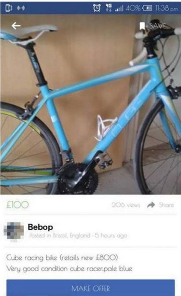 페이스북에 올라온 자전거 판매 글/페이스북