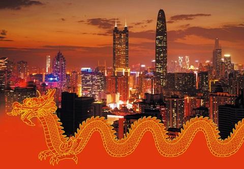 세계 제조업의 메카로 발돋움한 중국 선전의 야경. 선전에서 가장 높은 98층 건물인 '징지(京基)100'과 두번째로 높은 69층 건물인 '디왕 빌딩(地王大厦)'이 하늘 높이 우뚝 서 있다.