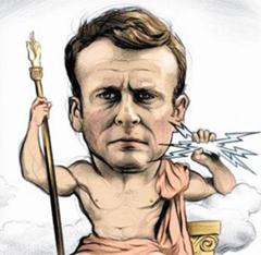 주피터 神으로 희화화 - 마크롱 대통령을 로마 신화에 나오는 신(神)들의 왕 주피터로 묘사한 주간지 르푸앵의 풍자 만화.