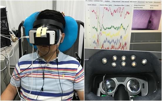 기자가 룩시드랩스 연구실에 방문해 가상현실(VR) 뇌파∙시선 측정 헤드셋을 착용한 뒤 동영상 시청과 연구원의 질문에 답을 하는 모습 /룩시드랩스 촬영