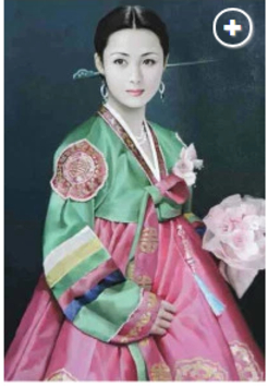 유엔본부에 전시될 익명의 북한 작가의 작품. 한복을 차려입은 북한 여성./사진=뉴욕포스트 홈페이지 캡쳐