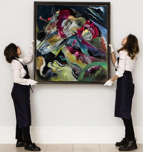 올해 6월 21일 런던 소더비 경매에서 3300만파운드(약 485억원)의 낙찰가로 칸딘스키 작품 가운데 최고 판매가를 기록한 '흰 선이 있는 그림(Painting with White Lines·1913)'
