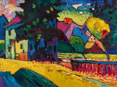 2100만파운드(약 308억원)에 팔려 몇 분 동안 칸딘스키 작품 최고 판매가를 기록했던 '초록색 집이 있는 풍경(Landscape With Green House·1909)'.