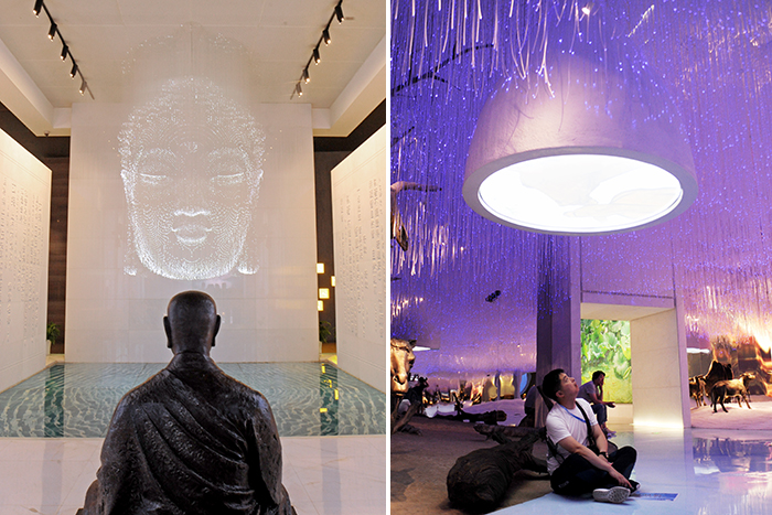 색다른 방식으로 전시한 불교 문화(좌), '보은'에 대한 다양한 체험(우)