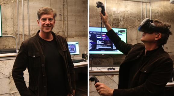 토니 패리시 유니티 VR·AR 전략 총괄이 VR 기기를 시연해 보이고 있다. 그는 VR과 AR, MR 등이 실제 인간 생활 영역에 큰 변화를 가져올 것이라고 내다봤다. /샌프란시스코=김범수 기자