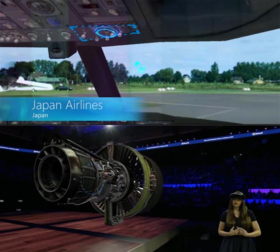 일본 항공사 JAL은 MS의 홀로렌즈를 도입해 항공기 운항 교육을 하고 엔진을 3D로 구현해 엔지니어들을 교육한다. 단순히 모습을 재현하는 것이 아니라 특정 부분을 표시해 어떤 기능을 하는지 정보도 제공한다. /MS 제공