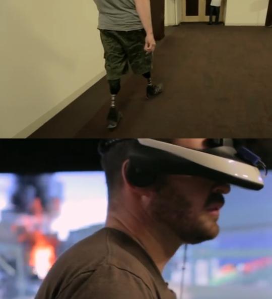 캐나다 군인인 조디 미틱(Jody Mitic)은 참전 당시 두 다리를 잃었다. 사진은 그가 USC의 치료 프로그램을 테스트하는 모습. /USC 영상 캡처