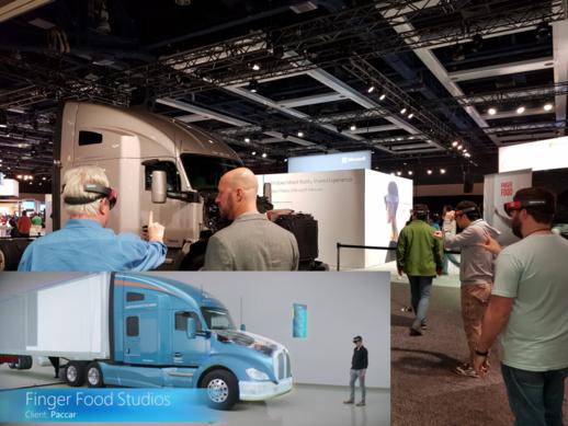 MS의 '빌드 2017' 행사에서 참가자들이 홀로렌즈를 시연해보고 있다. 디자인이 완성되지 않은 트럭을 홀로렌즈를 착용해서 보면 작은 사진처럼 완성형으로 볼 수 있고 디자인에 따른 기류와 풍압까지도 확인할 수 있다. /시애틀=김범수 기자