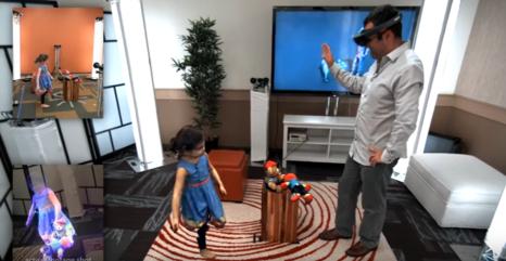 사진처럼 이미지 스캐닝, 이미지 인식, 3D 재현, 홀로렌즈 등 기술을 종합해 다른 공간에 있는 인물을 홀로그램으로 재현하고 같은 공간에서 대화를 나누는 것처럼 느끼도록 하는 일이 가까운 미래에 나타날 전망이다. /MS 제공