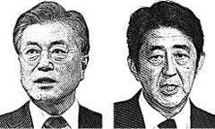 문재인 대통령과 아베 신조 일본 총리
