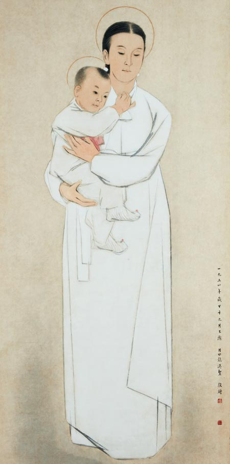 한복 차림의 성모와 아기 예수를 그린 장우성 화백의 1954년 작 '성모자상'.