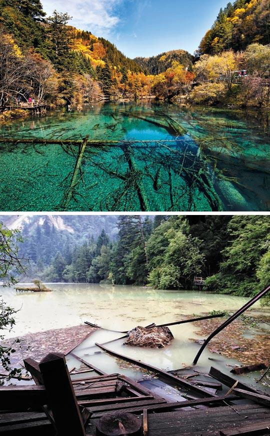 흙탕물이 돼버린 옥빛 호수