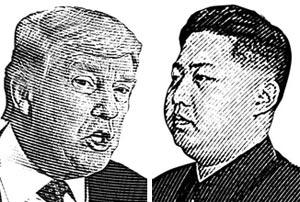 도널드 트럼프(왼쪽), 김정은.