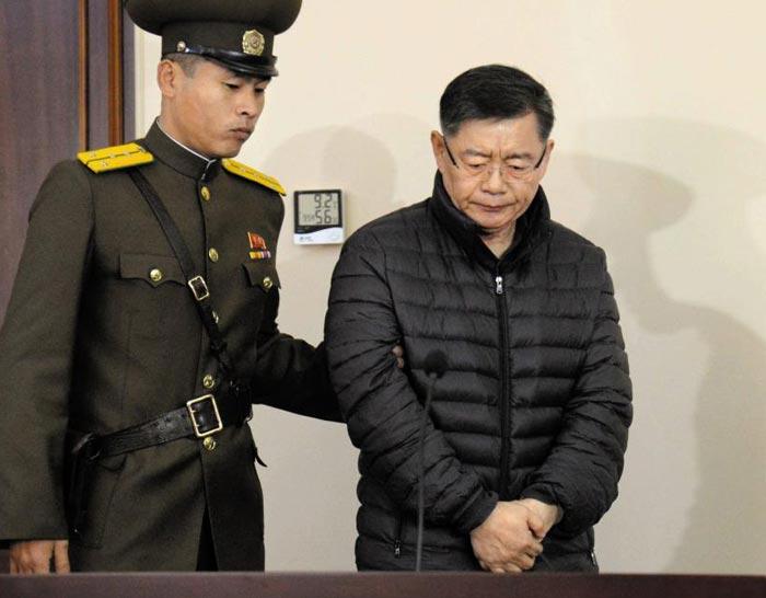 북한이 9일 병보석으로 석방했다고 밝힌 한국계 캐나다인 임현수 목사가 2015년 12월 국가 전복 혐의로 무기노동교화형을 선고받을 당시 모습.
