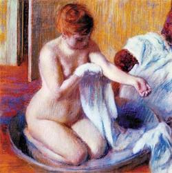 에드가르 드가의 '욕조 속 여인', 1883년, 70×70㎝, 종이에 파스텔.