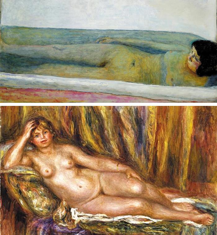 (사진 위)결핵을 앓다 죽은 아내를 그리워하며 그린 피에르 보나르의 '욕실', 1925년, 86×120.6㎝, 캔버스에 유채. (사진 아래)오귀스트 르누아르의 '긴 의자 위의 누드', 1915년, 54.4×65.3㎝, 캔버스에 유채.